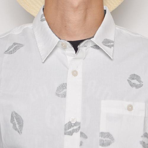 Vans/Carnelian S/S Shirt(バンズ S/Sシャツ)ホワイト×ダークグレー [a-0246]