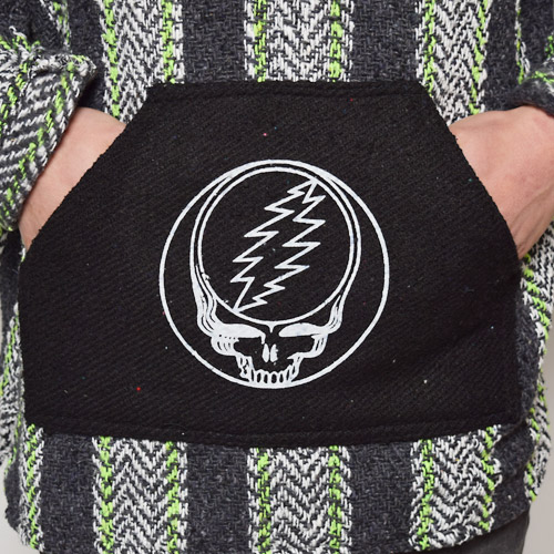 Grateful Dead/Official Dead Head Mexican Baja Parka(グレイトフルデッド メキシカンパーカー)ブラック×ホワイト×ライトグリーン [a-0649]