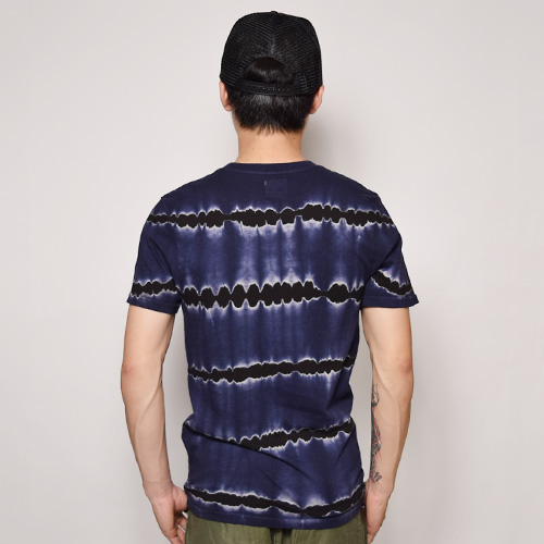 Vans/Arrow Head Tie Dye Border T-shirt(バンズ タイダイボーダーTシャツ)パープル×ブラック [a-1009]