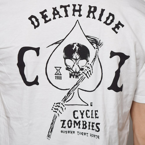 Cycle Zombies×Black Label/Death Ride T-Shirt(サイクルゾンビ×ブラックレーベル Tシャツ)ホワイト [a-1037]