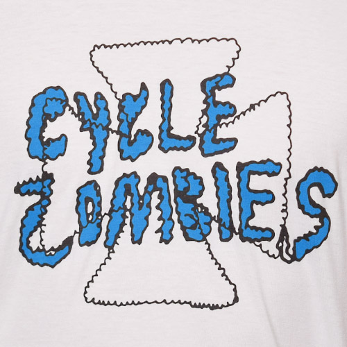 Cycle Zombies/Zig Zag Premium T-Shirt(サイクルゾンビ Tシャツ)ホワイト×ブルー [a-1067]