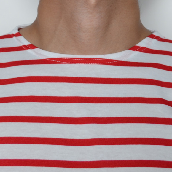 Saint James/MINQUIERS 10  L/S  T-Shirt(セントジェームス L/SボーダーTシャツ)ホワイト×レッド [n-4297]