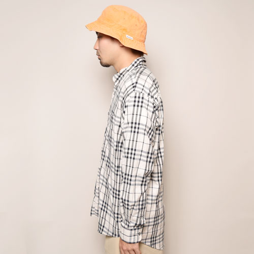 ・Burberry/Old L/S Check Shirt(バーバリー チェックシャツ)ホワイト×ブラック/サイズL [z-2077]