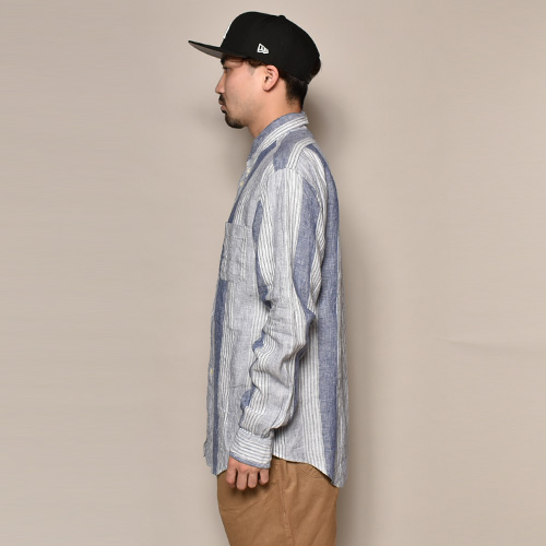 ・Brooks Brothers/L/S Linen Shirt(ブルックスブラザーズ リネンシャツ)ホワイト×ネイビー/サイズM [z-3597]