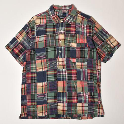 ・Polo Ralph Lauren/S/S Patchwork Shirt(ラルフローレン パッチワークシャツ)グリーン×レッド×ネイビー/サイズM [z-3933]