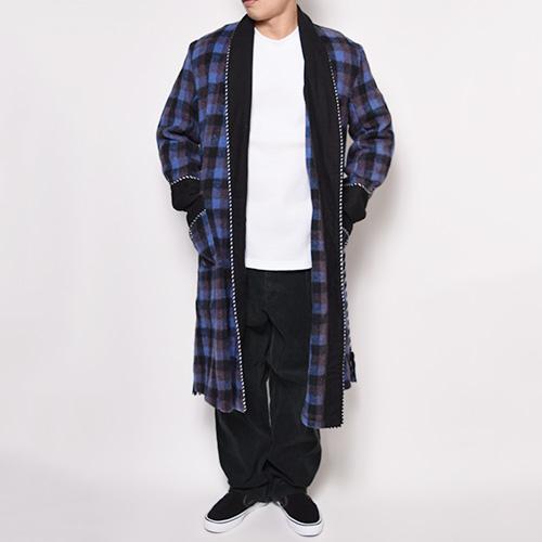 ・Checked Wool Gown Coat(チェックウールガウンコート)パープル×ブラック/サイズF [z-0298]