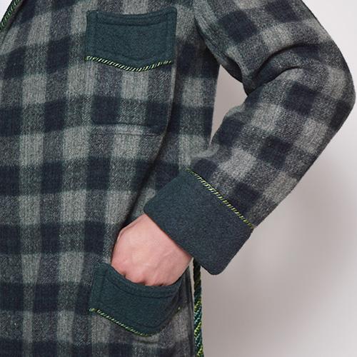 ・Checked Wool Gown Coat(チェックウールガウンコート)グリーン/サイズ48 [z-0299]