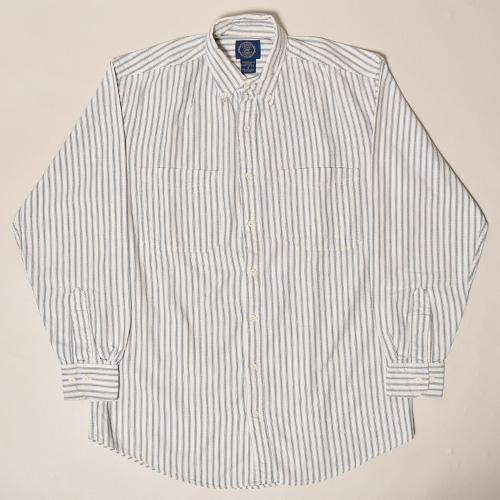 ・Gap/L/S Striped Cotton Shirt(ギャップ コットンシャツ)グレー×ホワイト/サイズS [z-3441]