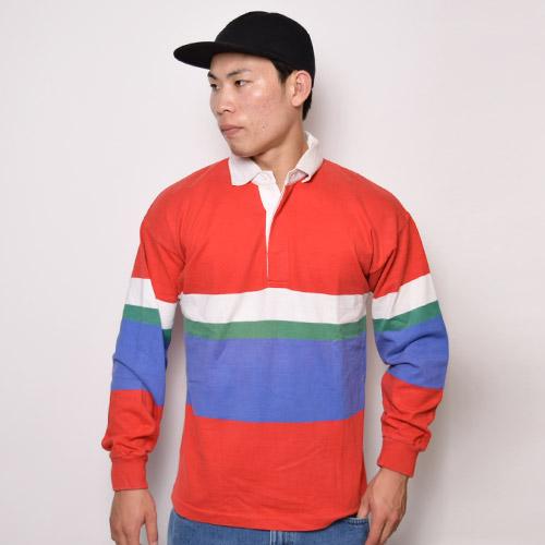 ・Eddie Bauer/Rugger Shirt(エディバウアー ラガーシャツ)マルチカラー/サイズL [z-0117]