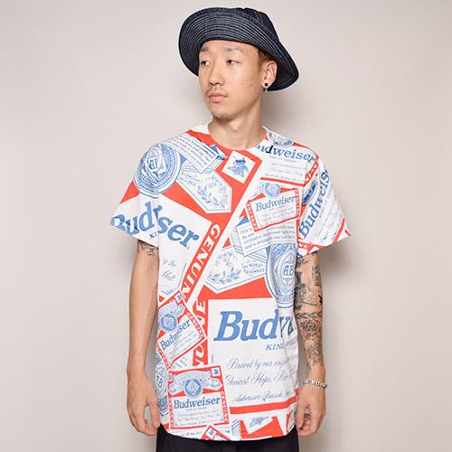 Budweiser/90's Replica Allover Printed T-Shirts(バドワイザー Tシャツ)ホワイト×ネイビー×レッド [a-2513]