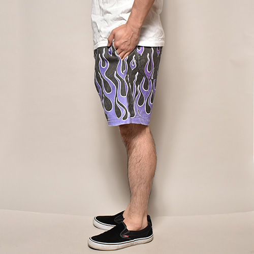 Flames Printed Easy Short Pants(フレームスイージーショートパンツ)ブラック×パープル [a-3678]