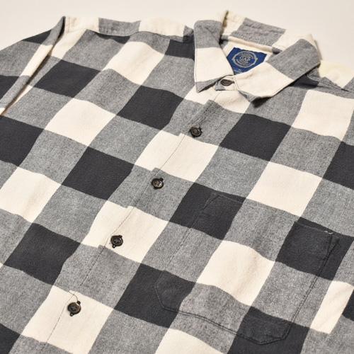 ・Gap/L/S Checked Cotton Shirt(ギャップ コットンシャツ)ブラック×グレー×ホワイト/サイズM [z-3446]