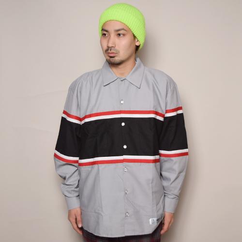 Red Kap×US/L/S Wide Silhouette Technical Work Shirt(レッドキャップ×アス ワイドシルエットシャツ)グレー×ブラック×レッド [a-3454]