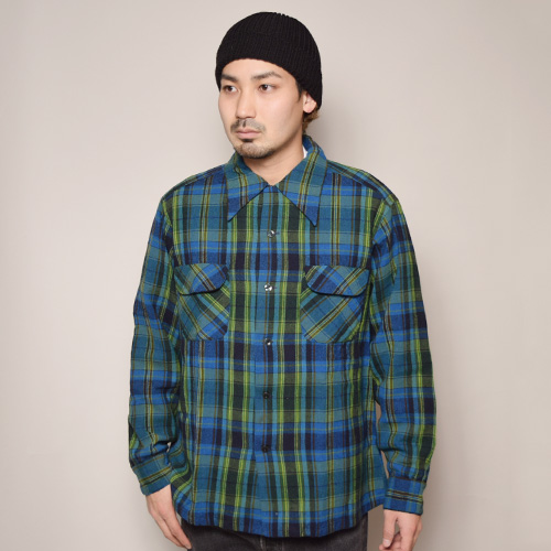 ・Pendleton/Board Shirt(ペンドルトン ウールシャツ)ブルー×グリーン/サイズL [z-2438]