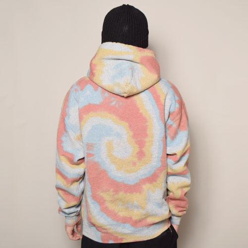 HWY×US/Tie Dye Multi Flames Pullover Hoodie (エイチダブリューワイ×アス タイダイスウェットパーカー)レッド×オレンジ×ブルー(R) [a-3623]
