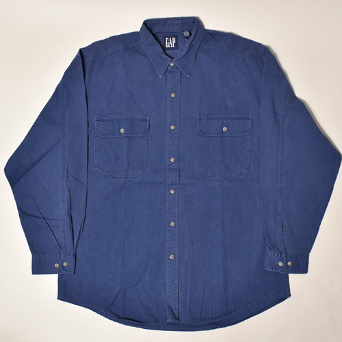 ・Gap/L/S Solid Cotton Shirt(ギャップ コットンシャツ)ネイビー/サイズXL [z-3530]