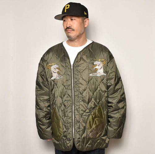 ・Us Customized Alaska Souvenir M-65 Quilted Liner Jacket(USミリタリー×アス ライナージャケット)オリーブ/サイズXL [z-5088]