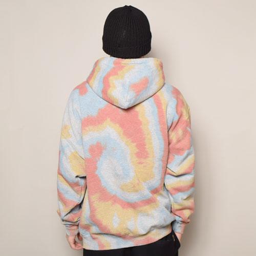 HWY×US/Tie Dye Multi Flames Pullover Hoodie (エイチダブリューワイ×アス タイダイスウェットパーカー)レッド×オレンジ×ブルー(B) [a-3624]
