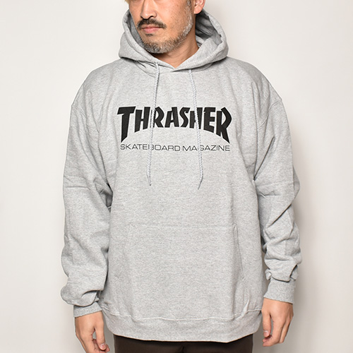 Thrasher Magazine/Logo Hoodie(スラッシャーマガジン パーカー)ヘザーグレー  [a-4246]