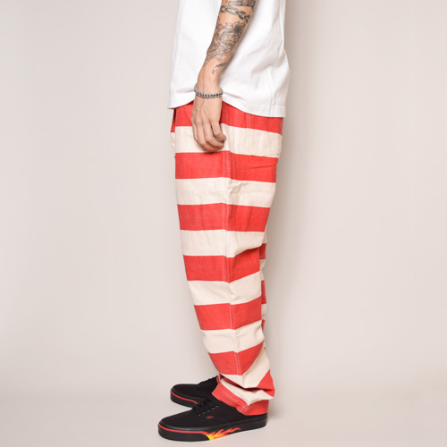 Stripes Patterned Elastic Waist Pants/Dead Stock(ボーダーイージーパンツ)レッド×ホワイト [a-2517]