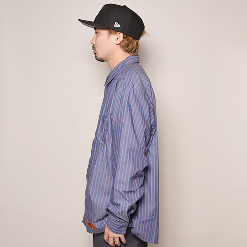 Red Kap×US/L/S Wide Silhouette Striped Work Shirt(レッドキャップ×アス ワイドシルエットシャツ)グレー×ブルー [a-3457]