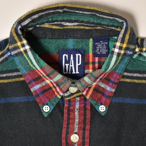 ・Gap/L/S Checked Cotton Shirt(ギャップ コットンシャツ)ブラック×グリーン×レッド/サイズM [z-3448]