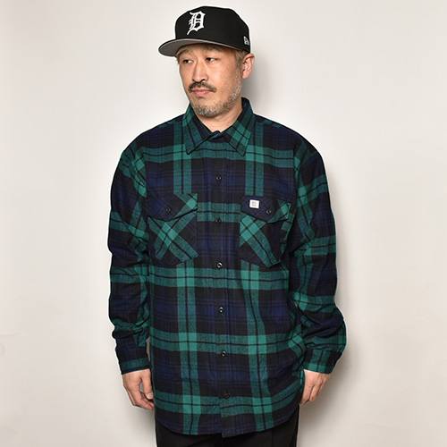 Big Bill/L/S Premium Brawny Flannel Shirt(ビッグビル フランネルシャツ)ネイビー×グリーン [a-4689]