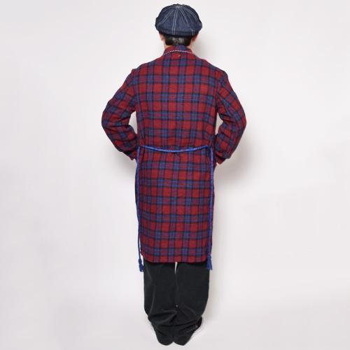 ・Checked Wool Gown Coat(チェックウールガウンコート)レッド×ブルー/サイズF [z-0306]