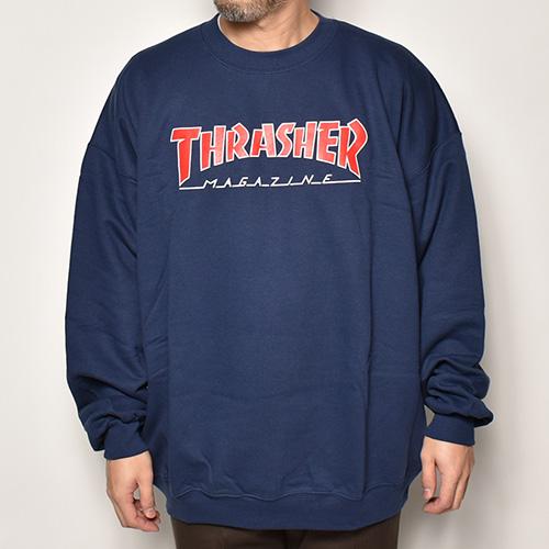 Thrasher Magazine/Logo Crew Sweatshirt(スラッシャーマガジン スウェット)ネイビー [a-4248]
