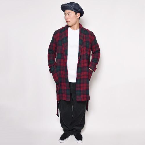 ・Checked Wool Gown Coat(チェックウールガウンコート)レッド×グリーン/サイズF [z-0307]