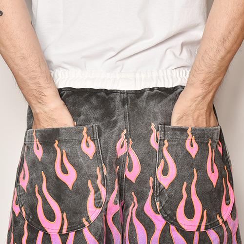 Flames Printed Easy Short Pants(フレームスイージーショートパンツ)ブラック×ブルー/ピンク [a-3923]