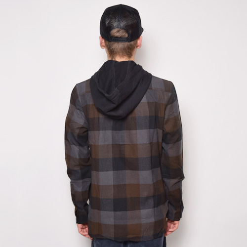 Vans/Never Mind Hooded Flannel Shirt(バンズ フードチェックネルシャツ)グレー×ブラウン [a-2083]