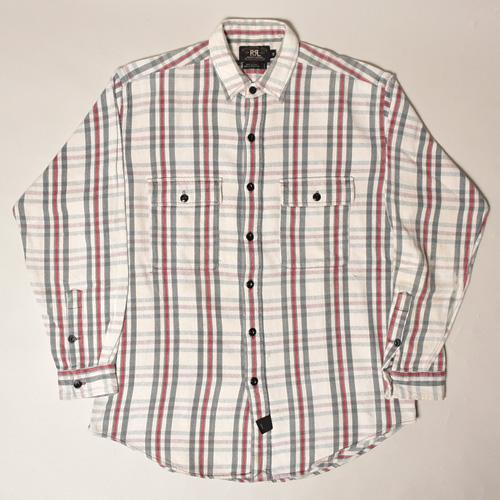・RRL/L/S Flannel Shirt(ダブルアールエル ネルシャツ)ホワイト×バーガンディー×グレー/サイズM [z-3361]