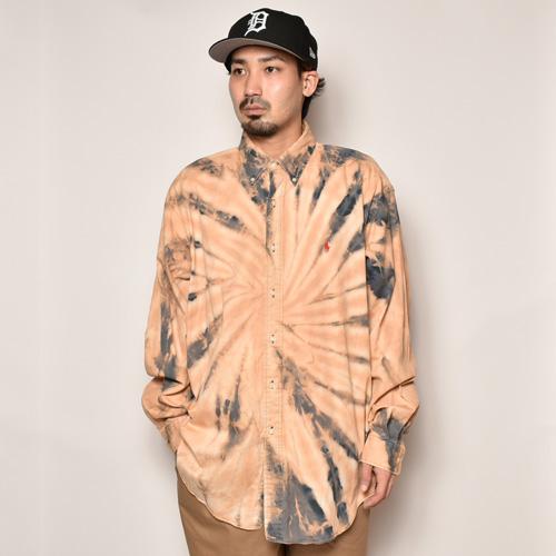 ・Polo Ralph Lauren/Bleached L/S Loose Shirt(ラルフローレン ブリーチシャツ)ベージュ×ネイビー/サイズXL [z-4483]
