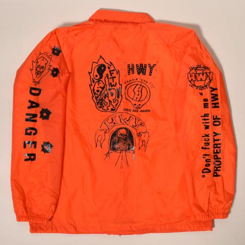 HWY×US/Tattoo Flash Nylon Jacket(エイチダブリューワイ×アス ナイロンジャケット)オレンジ [a-3495]