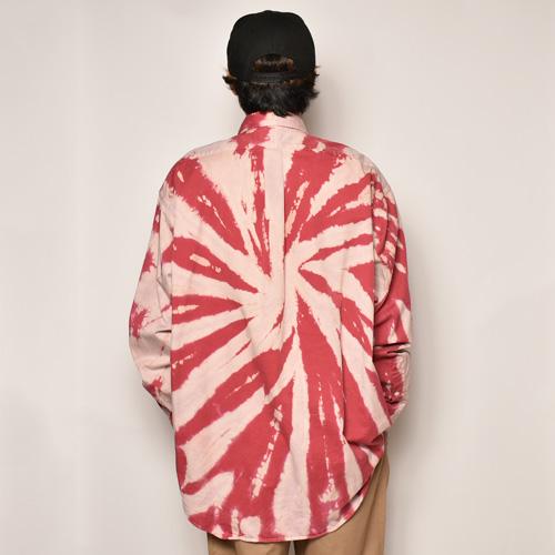 ・Polo Ralph Lauren/Bleached L/S Loose Shirt(ラルフローレン ブリーチシャツ)ベージュ×バーガンディ/サイズXL [z-4484]