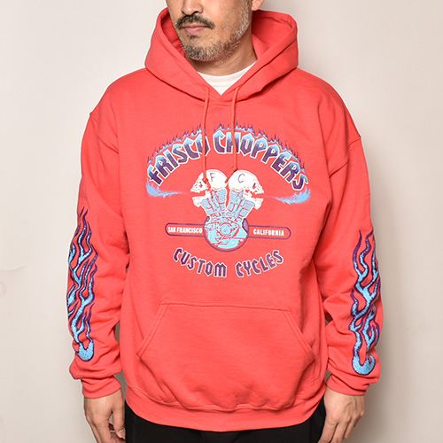 415 Clothing×Us/Frisco Choppers Pullover Hoodie(415クロージング×アス パーカー)パプリカレッド [a-4692]