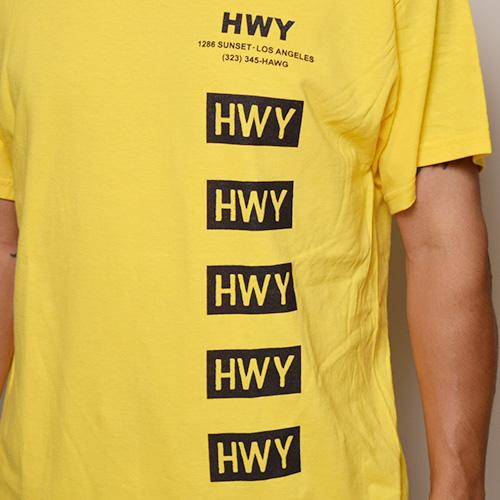 HWY×US/S/S Cal Trans T-Shirt(エイチダブリューワイ×アス Tシャツ)イエロー [a-3246]