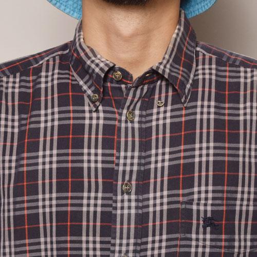 ・Burberry/Old L/S Check Shirt(バーバリー チェックシャツ)ネイビー×ホワイト×レッド/サイズM [z-2093]