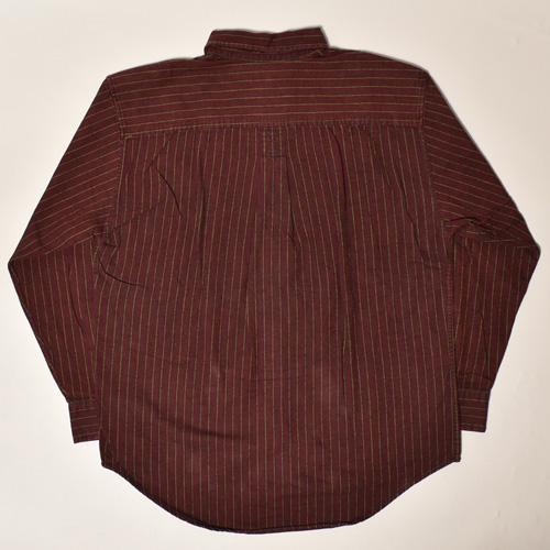 ・Gap/L/S Striped Cotton Shirt(ギャップ コットンシャツ)バーガンディー×ブラウン/サイズM [z-3442]