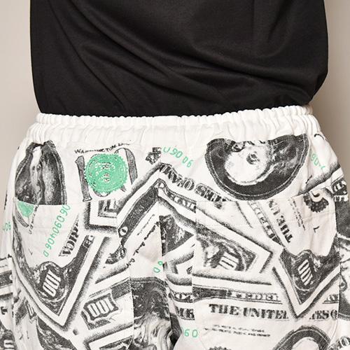 100 Dollar Bill Printed Easy Short Pants(100ドル札イージーショートパンツ)ホワイト [a-3730]