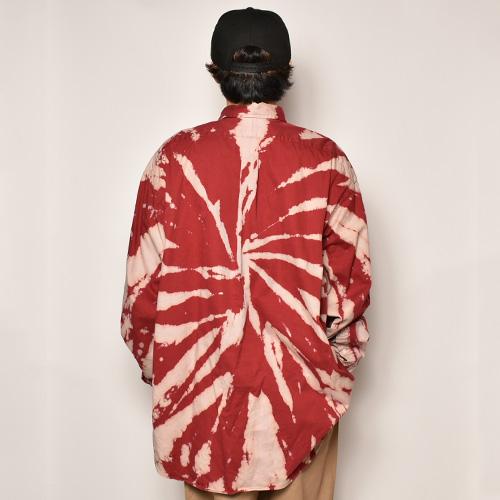 ・Polo Ralph Lauren/Bleached L/S Loose Shirt(ラルフローレン ブリーチシャツ)バーガンディ×ベージュ/サイズ2XL [z-4485]