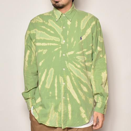 ・Polo Ralph Lauren/Tie Dyed L/S Loose Shirt(ラルフローレン タイダイシャツ)ライトグリーン×ベージュ/サイズM [z-4486]
