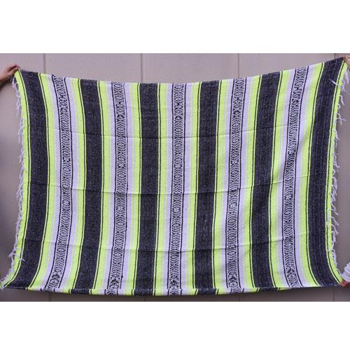 Mexican Rag Blanket(メキシカンラグブランケット)ネオンイエロー×ブラック×ホワイト [a-4144]