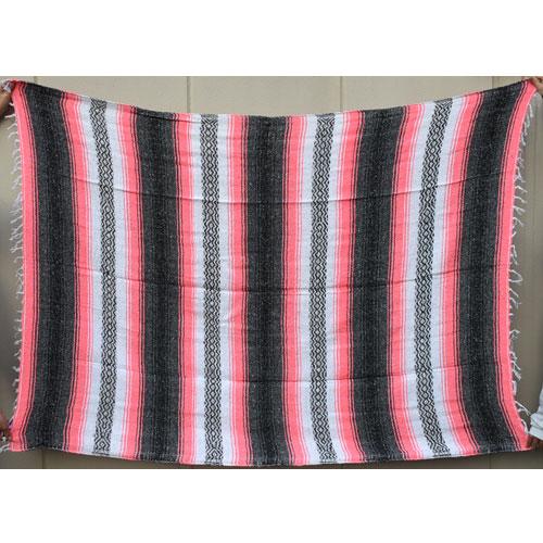 Mexican Rag Blanket(メキシカンラグブランケット)ピンク×ブラック×ホワイト [a-4145]