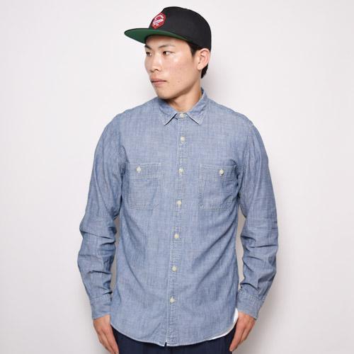 ・J.Crew/L/S Chambray Work Shirt(J.クルー シャンブレーシャツ)ブルーシャンブレー/サイズM [u-9960]