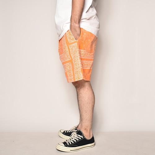 Cross Bandana Patterned Easy Short Pants(クロスバンダナイージーショートパンツ)オレンジ [a-3962]