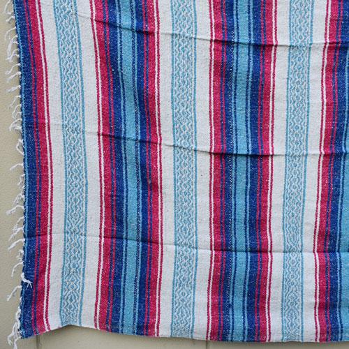 Mexican Rag Blanket(メキシカンラグブランケット)ブルー×レッド×ライトブルー [a-4146]