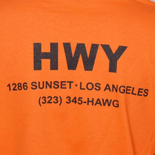 HWY×US/S/S Cal Trans T-Shirt(エイチダブリューワイ×アス Tシャツ)オレンジ [a-3198]