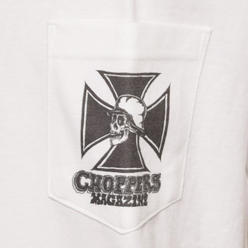 Choppers Magazine/Chopper Skull S/S Pocket T-Shirt(チョッパーズマガジン ポケットTシャツ)ホワイト [a-3322]
